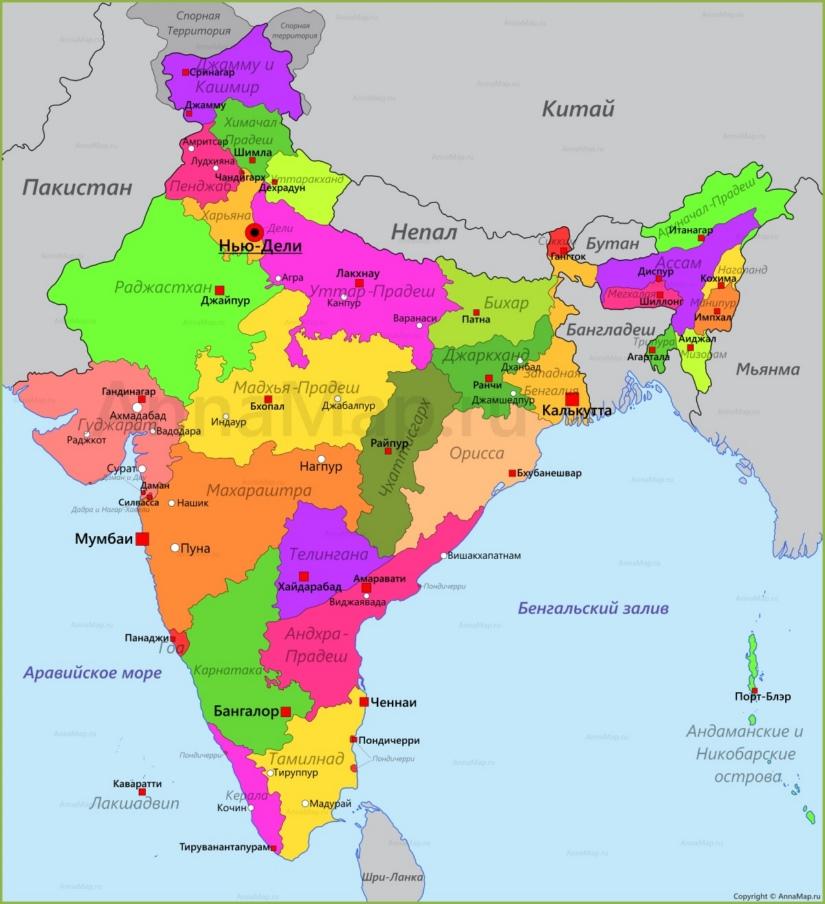 туристическая карта Индиии